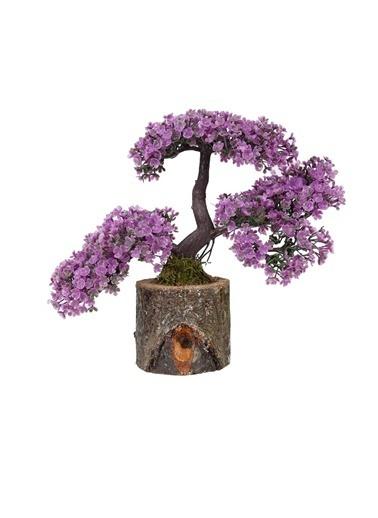 Çiçekmisin Doğal Kütük Saksıda Yapay Çiçek Mor